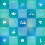 2016 calendar template with weather icon.Vector/illustration. 2016 calendar template with weather icon.Vector/illustration Stock Photography