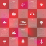 2016 calendar template with weather icon.Vector/illustration. 2016 calendar template with weather icon.Vector/illustration Royalty Free Stock Photography