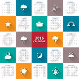 2016 calendar template with weather icon.Vector/illustration.Pri. 2016 calendar template with weather icon.Vector/illustration Royalty Free Stock Photography