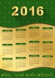 2016 calendar template (week starts monday). 2016 calendar template golden with green background (week starts monday Stock Photo