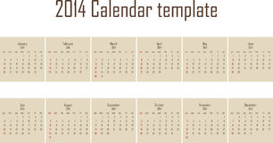 2014 calendar Royalty Free Stock Image