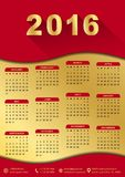 2016 calendar template (week starts sunday). 2016 calendar template golden with red background (week starts sunday Royalty Free Stock Image