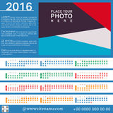 Calendar. 2016 Template. Week starts Sunday, 12 months. Layout with place for photo. Vector illustration Stock Photography