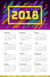 2018 Calendar Template. Week starts Sunday. Set of 12 Months. Portrait vertical orientation. Disco Colorful Trendy Motion Shapes D Stock Photography