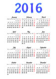 Calendar 2016. Template calendar 2016 on a white background royalty free illustration