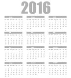 Calendar 2016 template on a white background Royalty Free Stock Photos