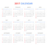 Calendar Template for 2017 on White Background. Vector. Illustration Royalty Free Stock Photos