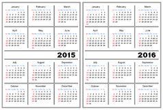 Calendar template. 2015, 2016. Template of a calendar of white color. A calendar for 2015 and 2016 Stock Image