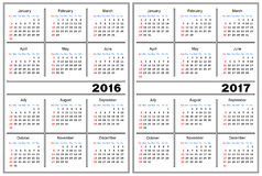 Calendar template 2016, 2017 Stock Photos