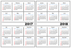 Calendar template 2017, 2018 Royalty Free Stock Photo