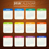 Calendar template 2016 wooden background. Calendar for 2016 on Wooden Background. Week Starts Monday. Simple Vector Template. For web and print design. Vector Royalty Free Stock Photography