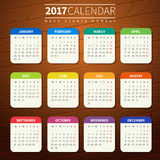 Calendar template for 2017. Calendar for 2017 on Wooden Background. Week Starts Monday. Simple Vector Template. For web and print design. Vector illustration Stock Photography