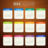 Calendar template 2016. Calendar for 2016 on Wooden Background. Week Starts Sunday. Simple Vector Template. For web and print design. Vector illustration Stock Photography