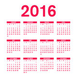 Calendar 2016. Calendar template 2016, words in the english red Stock Illustration