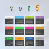 Calendar Template for Year 2015. Colorful Calendar Card Template, 365 Days of Year 2015 - Illustration in Editable Vector Format vector illustration