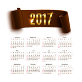 Calendar template for a year 2017 isolated on white. Calendar template for a year 2017 on white background. Vector illustration royalty free illustration