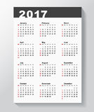 Calendar Template for 2017 year. NWeek starts from Sunday Royalty Free Stock Photography