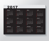 Calendar Template for 2017 year. NWeek starts from Sunday Royalty Free Stock Photos