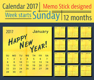 Calendar 2017 template Royalty Free Stock Images