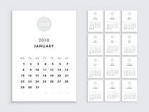 Calendar 2018 template. Calendar template for 2018 year. Planner vector diary in a minimalist style. Corporate and business calendar template. Day planner for Royalty Free Stock Photo