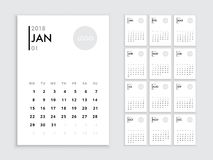 Calendar 2018 template. Calendar template for 2018 year. Planner vector diary in a minimalist style. Corporate and business calendar template. Day planner for Stock Images