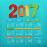 Calendar template for a year 2017. Vector illustration Vector Illustration