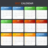 Calendar Template for 2017 year. Vector. Illustration Royalty Free Stock Image