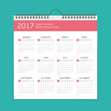 2017 calendar template. 2017 Year wall calendar template. Week starts on sunday. Vector Illustration EPS 10 Royalty Free Stock Photography