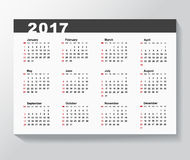 Calendar Template for 2017 year. Week starts from Sunday stock illustration