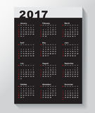 Calendar Template for 2017 year. Week starts from Sunday vector illustration
