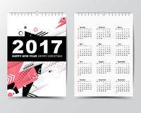 Calendar Template for 2017 year.  Stock Photo