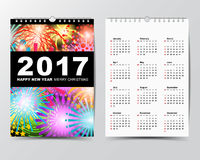 Calendar Template for 2017 year.  Royalty Free Stock Photography