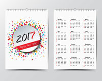 Calendar Template for 2017 year.  Stock Images