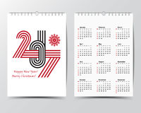 Calendar Template for 2017 year.  Royalty Free Stock Image