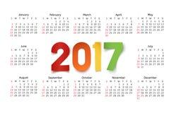 Calendar template for a year 2017 on white. Calendar template for a year 2017 on white background. Vector illustration Stock Illustration