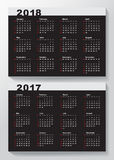 Calendar Template for 2017 and 2018 years. Week starts from Sunday stock illustration