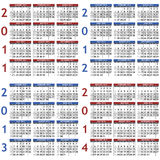 Calendar templates for 2011 - 2014. Four classic calendar templates for years 2011 - 2014, easy editable, weeks start on Sunday Royalty Free Stock Photography