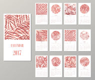 Calendar 2017. Templates with creative tropical textures. Vector illustration Royalty Free Stock Photos