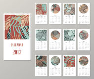 Calendar 2017. Templates with creativetropical textures. Calendar 2017. Templates with creative tropical textures. Vector illustration Royalty Free Stock Images