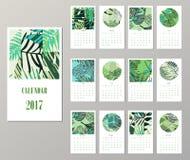 Calendar 2017. Templates with creativetropical textures. Calendar 2017. Templates with creative tropical textures. Vector illustration Stock Photography