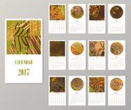 Calendar 2017. Templates with creativetropical textures. Calendar 2017. Templates with creative tropical textures. Vector illustration Royalty Free Stock Photo