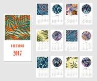 Calendar 2017. Templates with creativetropical textures. Vector illustration Stock Photo