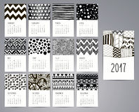 Calendar 2017. Templates with Hand Drawn Patterns. Calendar 2017. Templates with Black Artistic Hand Drawn Patterns and Textures. Vector Illustration Stock Illustration