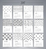 Calendar 2017. Templates with Hand Drawn Patterns. Calendar 2017. Templates with Black Artisticc Hand Drawn Patterns and Textures. Vector Illustration Stock Illustration