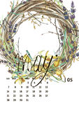 Calendar 2017. Templates with watercolor illustations. Set of 12 Months. Hand drawn watercolor flowers and berryes. Modern lettering Royalty Free Stock Photography