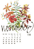Calendar 2017. Templates with watercolor illustations. Set of 12 Months. Hand drawn watercolor flowers and berryes. Modern lettering Royalty Free Stock Image