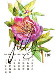 Calendar 2017. Templates with watercolor illustations. Set of 12 Months. Hand drawn watercolor flowers and berryes. Modern lettering Stock Images