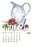 Calendar 2017. Templates with watercolor illustations. Set of 12 Months. Hand drawn watercolor flowers and berryes. Modern lettering Royalty Free Stock Photos