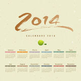 Calendar 2014 text paint brush Stock Image