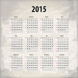 2015 calendar on textured background. Which is made from several transparent layers for a worn, rubbed effect, therefore saved in eps 10 royalty free illustration